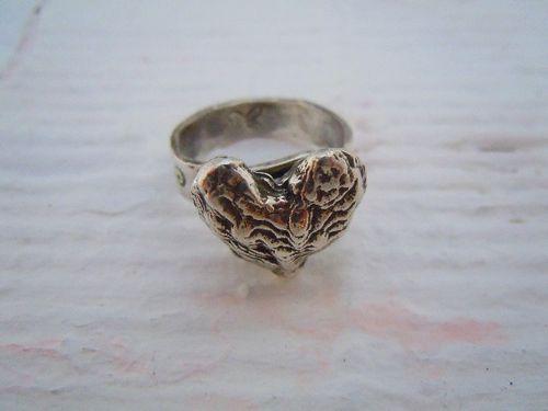 Cuttle bone heart ring