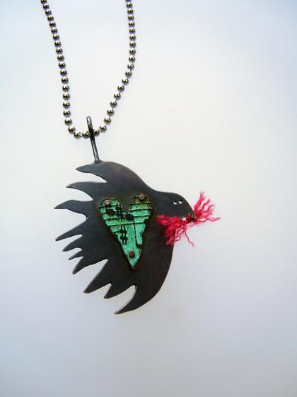 Bird with music heart