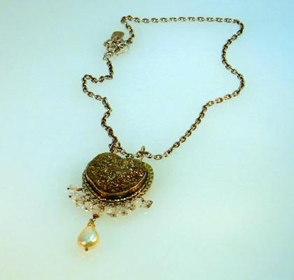 Pyrite Heart Pendant w pearl